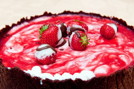 Detail of cake with strawberries and strawberry icing. Stock Photo - 9959087
