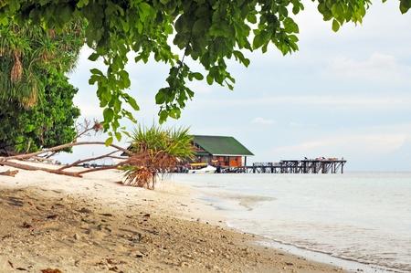 Exotic island with deserted beach near Borneo. Stock Photo - 9959095