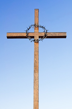 Cross with a crown of thorns on the National Cemetery in Terezin