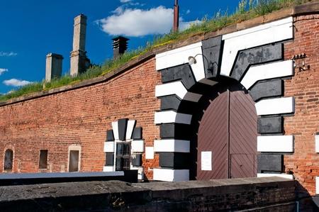terezin: Vecchio forte a Terezin, Repubblica ceca. Al giorno d'oggi questa � una parte del monumento commemorativo per il ghetto ebraico che Terezin � stato durante la seconda guerra mondiale.