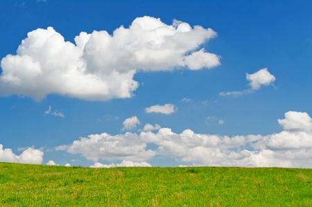 View of blue sky with white clouds and summer field.