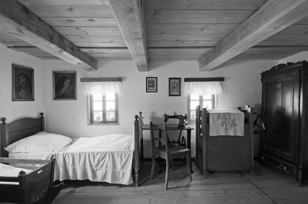 joist: PSTRAZNA, POLAND. - JULY 17: View of interior in an old historic wooden house on July 17, 2011 in Pstrazna, Poland. .