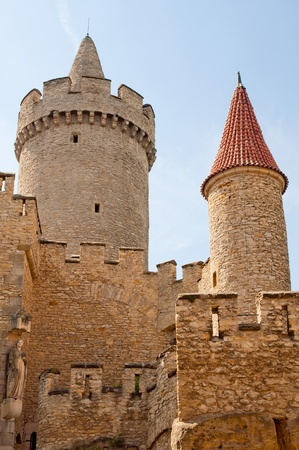 crenellated tower: KOKORIN, CZECH REPUBLIC - JUNE 25: Picture of medieval castle Kokorin viewed from courtyard on June 25, 2011 in Kokorin, Czech Republic. Editorial