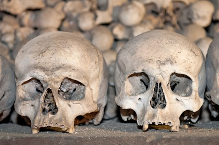 Human skulls and bones in the Ossuary Kostnice at Sedlec near Kutna Hora, Czech Republic.