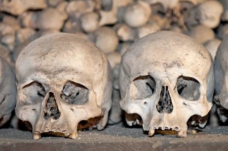 Human skulls and bones in the Ossuary Kostnice at Sedlec near Kutna Hora, Czech Republic.
