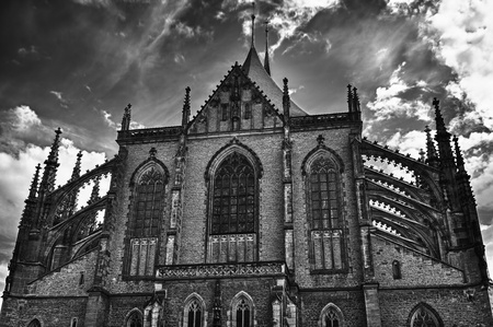 Cathedral of St. Barbara in Kutna Hora, Czech Republic. B&W HDR style. photo