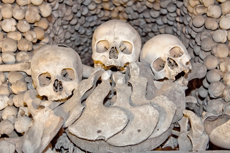 Human skulls and bones in the Ossuary Kostnice at Sedlec near Kutna Hora, Czech Republic. photo