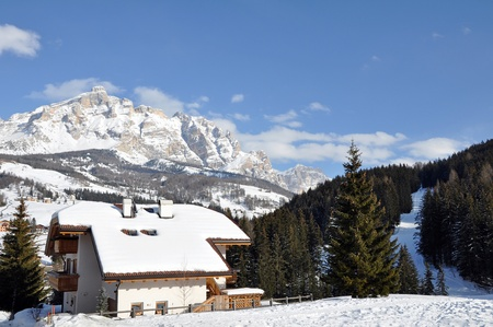 ALTA BADIA, ITALY - FEBRUARY, 16: View of ski resort during the sunny wintertime on February 16, 2010 in Alta Badia, the Alps, Italy.