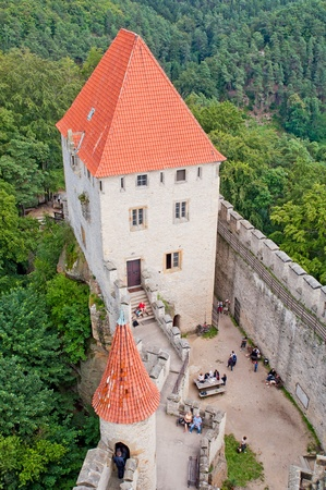 crenellated tower: Medieval castle Kokorin viewed from tower, Czech Republic. Editorial