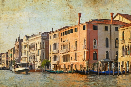waterbus: View of Venetian Grand Channel, retro style photo.