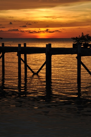 colourfully: Sea sunset with jetty in Malaysia, Borneo.