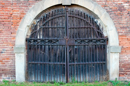 view of a wooden doorway: View of old door, 18th century military style.