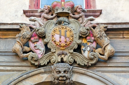 Detailed view of historical coat of arms. photo