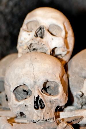 catacomb: Human skulls and bones in the Ossuary Kostnice at Sedlec near Kutna Hora, Czech Republic.