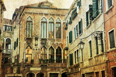 Typical example of unique Venetian architecture. Retro photo style. Stock Photo