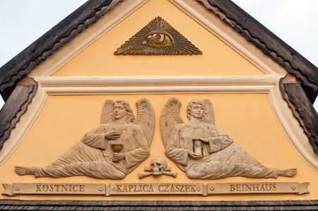 catholic chapel: Detail of Roman catholic chapel, now Ossuary in Czermna, Poland.