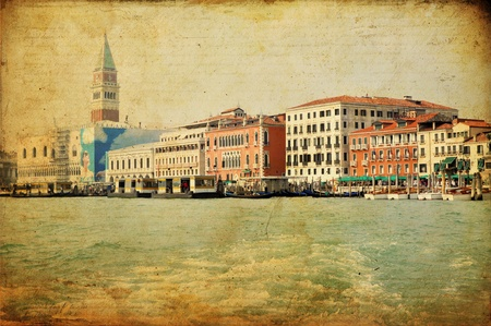 ancient buildings: View of Venetian Grand Channel, retro style photo.