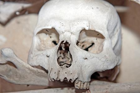 Human skull and bones in the Ossuary Kostnice at Sedlec near Kutna Hora, Czech Republic. Stock Photo