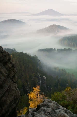 Sunrise in a beautiful mountain of Czech-Saxony Switzerland. Stock Photo