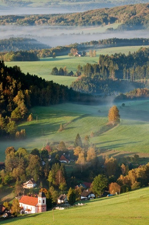 czech switzerland: Mattina in un paese bellissimo Ceca Sassonia Svizzera.