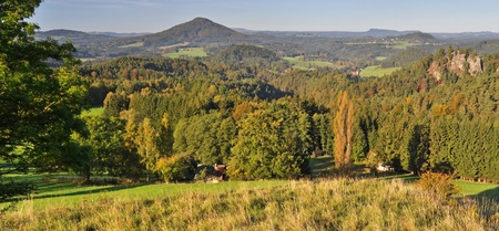 Panoramic view in a beautiful mountain of Czech-Saxony Switzerland. photo