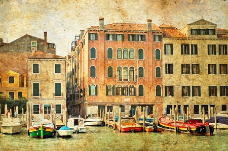 italian PEOPLE: View of Venetian Grand Channel, retro style photo.