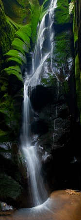 glacial: Vertical panorama of a beautiful waterfall in the Czech Republic. Stock Photo