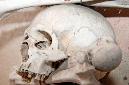 Human skull and bones in the Ossuary Kostnice at Sedlec near Kutna Hora, Czech Republic. photo