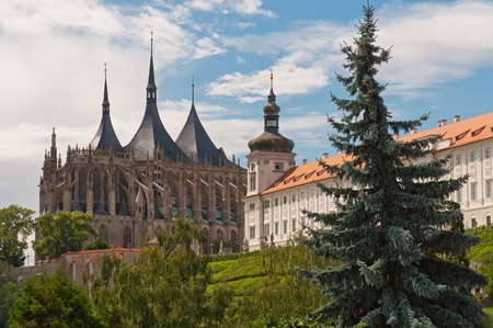 View of Kutna Hora with Saint Barbaras Church that is a UNESCO world heritage site, Czech Republic.