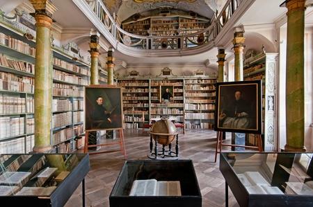 historic: Old library in Broumov Monastery, Czech Republic.