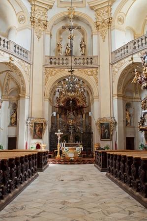 congregation: Beautiful church interior, picture taken in Wambierzyce, Poland.