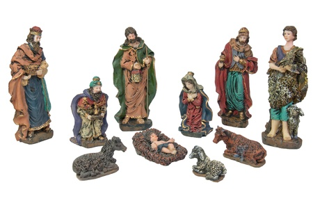Picture of Christmas Nativity scene made of wooden figures.