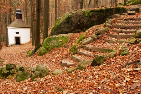 stone steps: Small baroque chapel hidden in a forest during the autumn time.