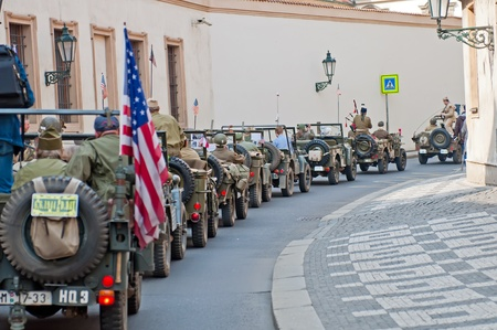 PRAGUE, CZECH REPUBLIC - APRIL 29: Picture of row of an American historical Jeeps of Old Car Rangers club on April 29, 2011. It´s part of reenactment event - the fall of German army in the Czech Republic during WWII.