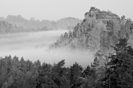 View of a beautiful b&w autumn landscape in Czech-Saxony Switzerland. photo