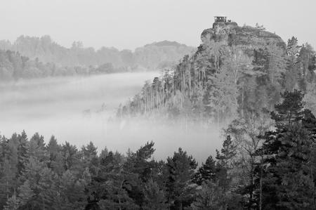 View of a beautiful b&w autumn landscape in Czech-Saxony Switzerland. Stock Photo - 11563294