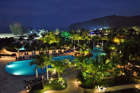 sunbeds: Luxury hotel resort near Kota kinabalu, Borneo.