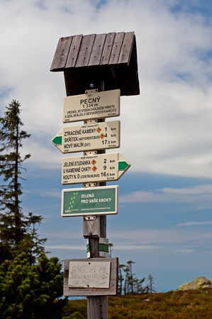 View of a typicall sign on trail, picture taken in the Czech Republic. photo