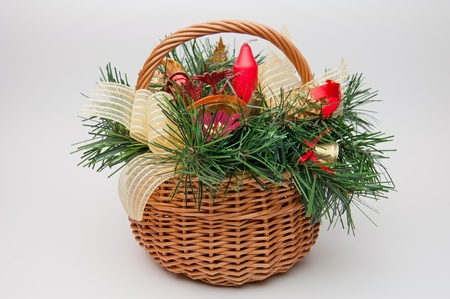 Detailed view of a decorative Christmas basket. photo