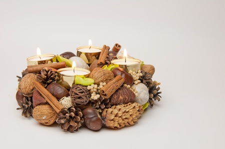 View of a beautiful Advent wreath with four candles. Stock Photo - 11563411