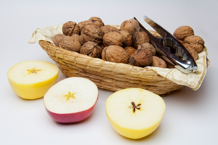 Picture of apples and walnuts, horizontal shot. Stock Photo - 11563422