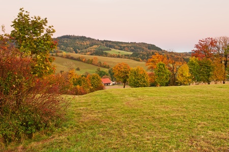 View of an autumn European countryside after the sunset time. photo