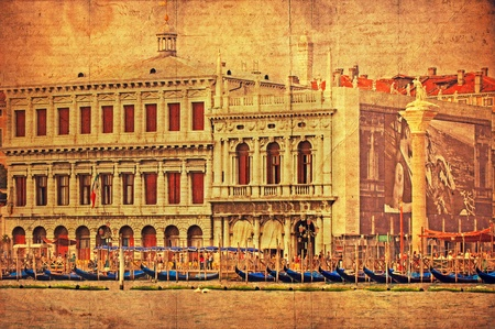 VENICE, ITALY - SEPTEMBER 27: View of a Venetian Grand Channel with its typical Venetian architecture and gondolas on September 27, 2009 in Venice. The photo was made as a retro styziled picture. Stock Photo - 11564847
