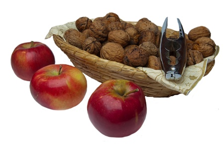 Picture of apples and walnuts, horizontal shot. photo