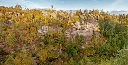 Panoramic view of rocky town during the autumn time. photo
