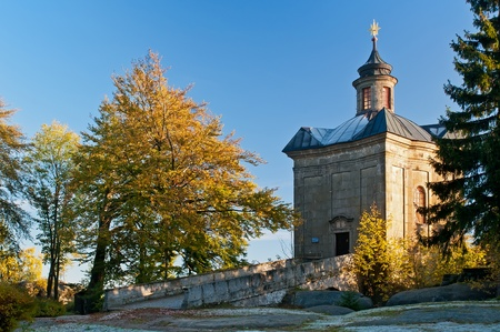 Stone baroque chapel in Broumov Walls in the Czech Republic. photo