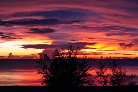 Beautiful colorful sea sunset in Malaysia, Borneo. Stock Photo - 11563329
