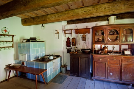 View of interior in an old wooden house. Editorial
