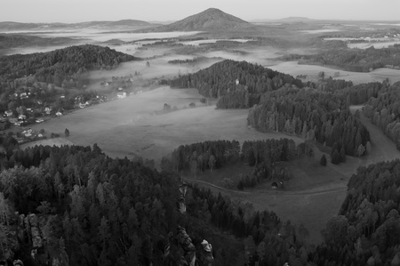 View of a beautiful b&w autumn landscape in Czech-Saxony Switzerland. Stock Photo - 11563331