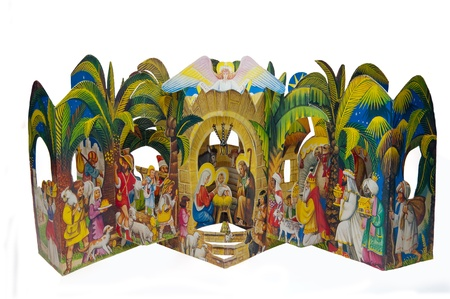 birth of jesus: Picture of Christmas Nativity scene made of paper. Stock Photo